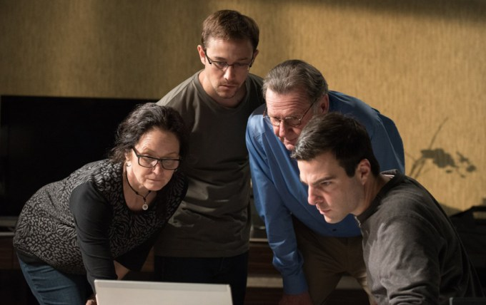 Joseph Gordon-Levitt, Melissa Leo, Zachary Quinto, and Tom Wilkinson in SNOWDEN. Courtesy of Open Road Pictures.