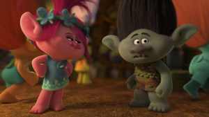 Poppy (voiced by Anna Kendrick) and Branch (voiced by Justin Timberlake) star in TROLLS. Courtesy of DreamWorks Animation.