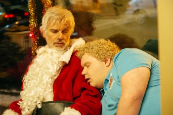 Billy Bob Thornton stars as Willie Soke, and Brett Kelly as Thurman Merman in BAD SANTA 2. Courtesy of Broad Green Pictures
