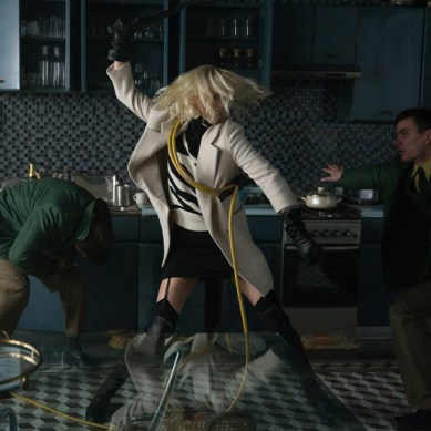 Charlize Theron sports some killer footwear in 'ATOMIC BLONDE'