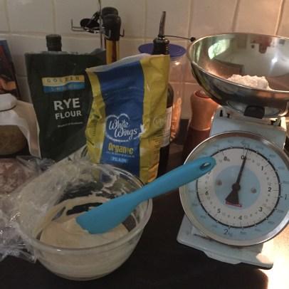 Sourdough starter ingredients.