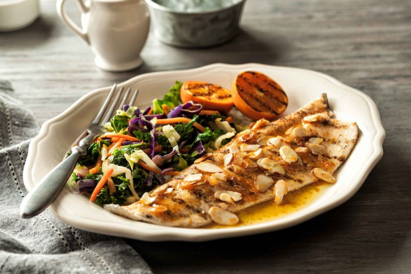 Grilled Trout Amandine with Orange-Butter Sauce and Toasted Almonds