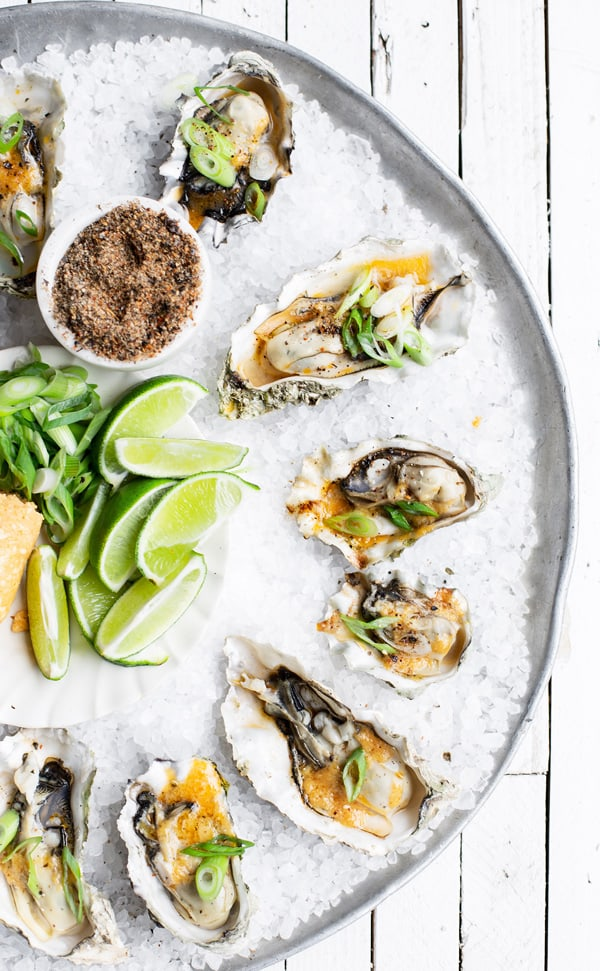 Smoked Oysters with Spicy Miso Butter is a great grilling recipe for easy entertaining by Major League Baseball team, the Seattle Mariners! Seattle mariners   smoked oysters   grilled oysters   miso paste   miso butter   grilled oysters in shell   compound butter