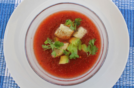 Make Red Tomato Gazpacho before summer tomatoes disappear from Fresh Food in a Flash.