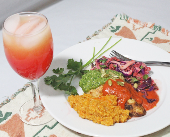 Our Southwestern Fiesta plate paired with a Tequila Sunrise cocktail.