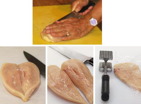 1) Slice open chicken breast. 2) Butterflied chicken breast. 3) Cut butterflied breast into two pieces.  4) Pound chicken breast with mallet to tenderize.