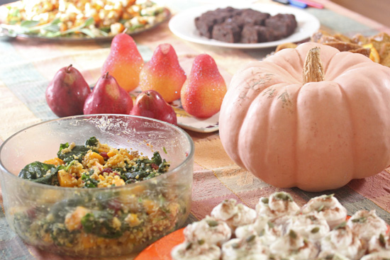 This beautiful Fall Harvest Salad contained squash, millet, walnuts and kale.