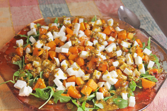 Pumpkin Salad with Pistachio Pesto - orange and festive!