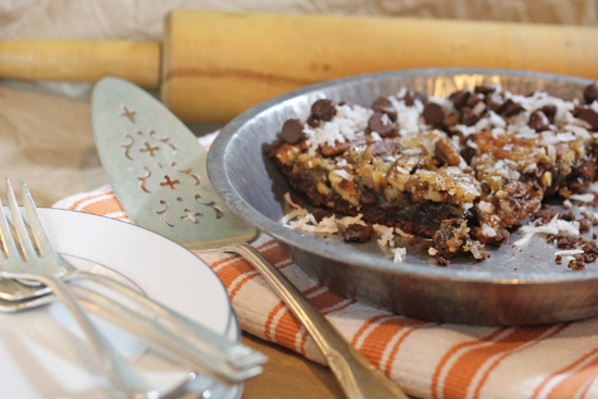 Chocolate Coconut Pecan Pie can be frozen, thawed out and rewarmed in a 250-degree oven.