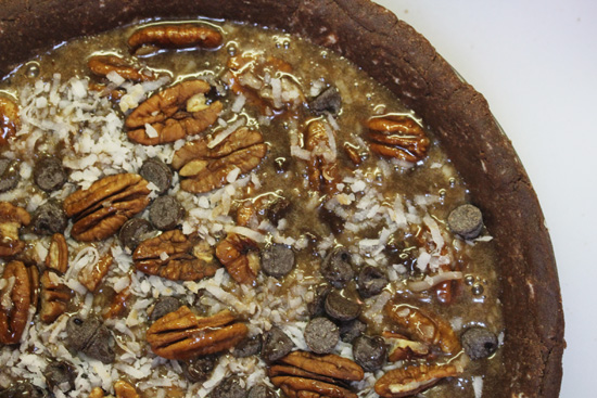 Chocolate Coconut Pecan Pie ready for the oven.