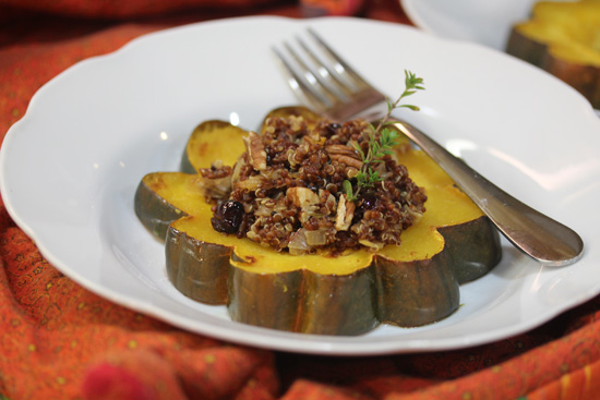 Acorn Squash Rings stuffed with Quinoa, Cranberries and Pecans