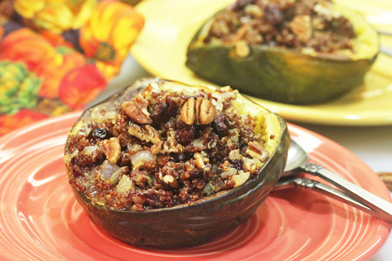 Acorn Squash stuffed with Red Quinoa, Cranberries and Pecans.