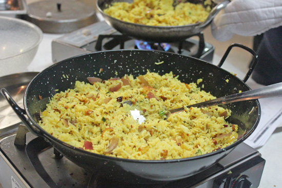 Lemon Rice ready to be removed from the heat.