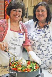 Irene and Patricia ready to serve Balti Stir-fried Vegetables with Cashews.