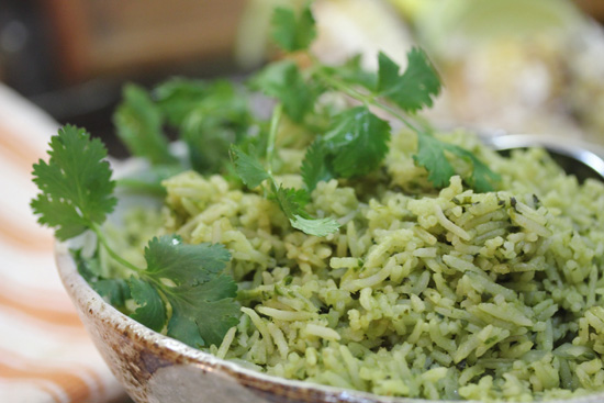 Arroz Verde...Green Rice with Cilantro and Spinach
