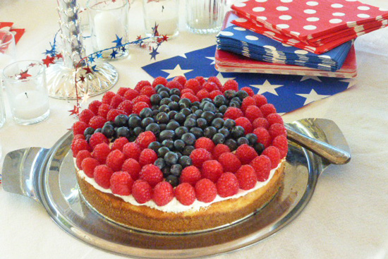 4th of July Cheesecake made with raspberries and blueberries