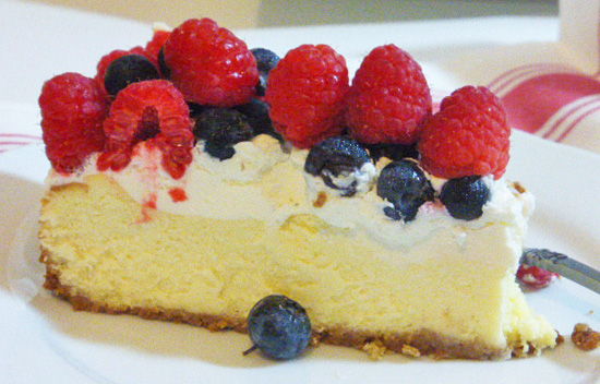 4th of July Cheesecake slice into 12 servings.