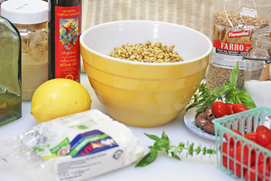 Ingredients in Italian Farro Salad with grape tomatoes, feta and Kalamata olives.
