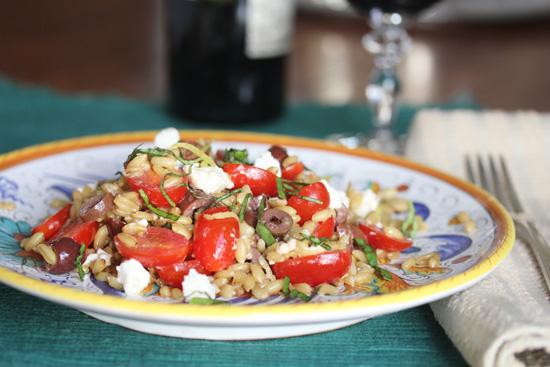 Italian Farro Salad with Grape Tomatoes, Feta Cheese and Kalamata Olives