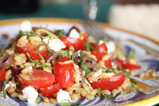 Italian Farro Salad with grape tomatoes, feta cheese and Kalamata olives.