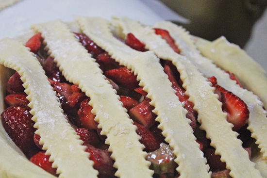 Strawberry Rhubarb Lattice Pie preparation.