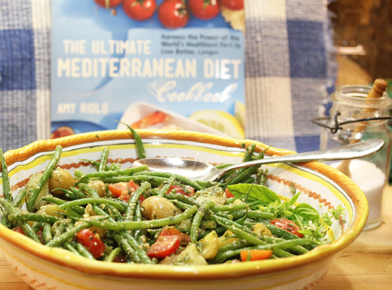 "Green Bean, Potato, Tomato and Pesto Salad from ""The Ultimate Mediterranean Diet Cookbook""."