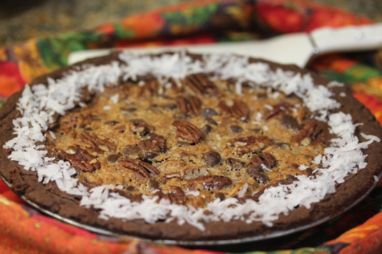 Chocolate Coconut Pecan Pie recipie from FreshFoodinaFlash.com