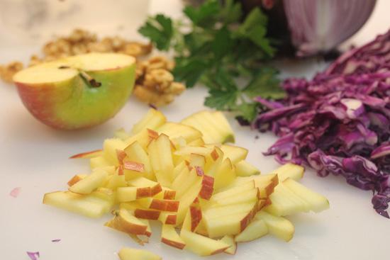Warm Red Cabbage Salad recipe from FreshFoodinaFlash.com