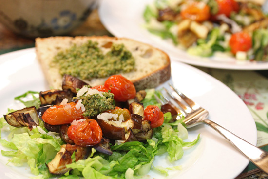 Roasted Eggplant and Tomato Salad with Cashew-Parsley Pesto