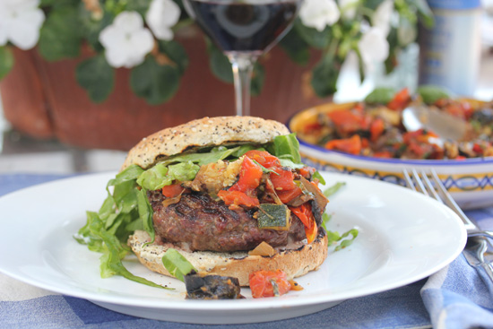 Green Chile and Bleu Cheese Stuffed Burger with Ratatouille recipe at FreshFoodinaFlash.com