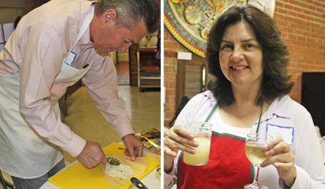 Larry filling tamales while Natalie takes a margarita break!