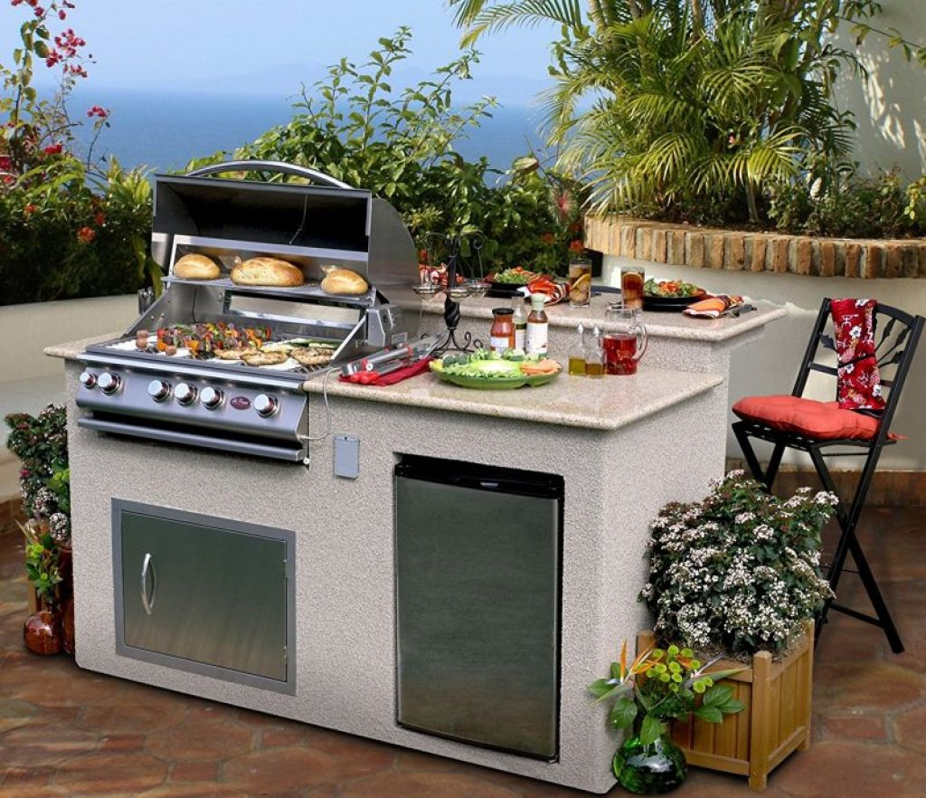 Outdoor Kitchen 4-Burner Barbecue Grill Island With ... on Backyard Patio Grill Island id=66750