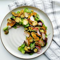 Roasted Za'atar Delicata Squash and Shaved Brussel Sprouts Salad