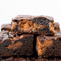 Healthy Cookie Dough Stuffed Brownies (paleo & nut free)
