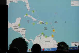 Demonstrating the exciting new Fresh Milk initiative, our Virtual Map of Caribbean Art Spaces. Photograph by Mark King.