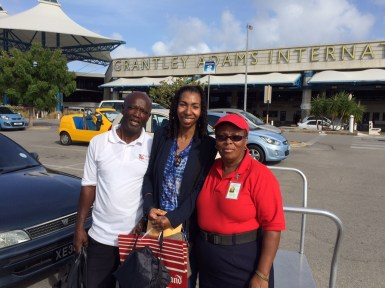 Edwin Edey, Saada and Mona at Grantley Adams International airport