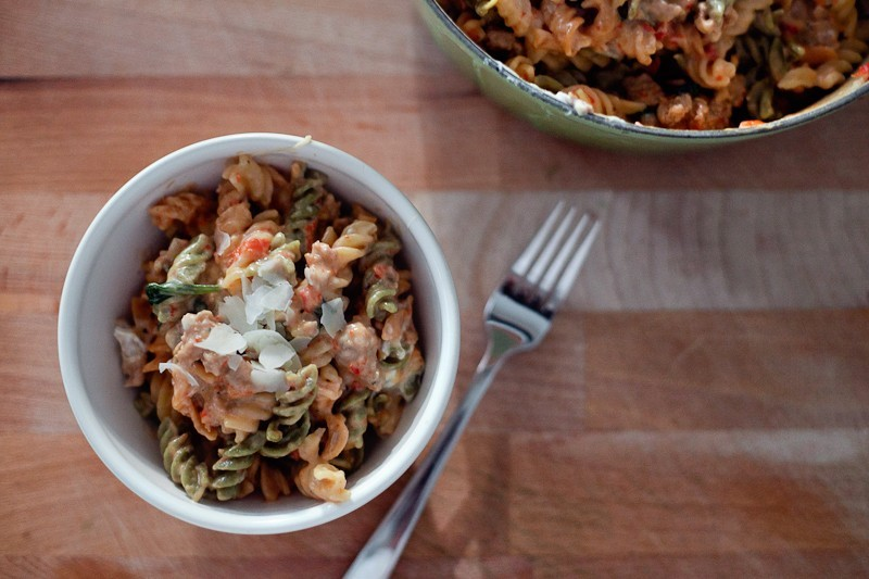 The best pasta I've made!! It's on repeat in our house… One Pot Italian Sausage and Goat Cheese Pasta