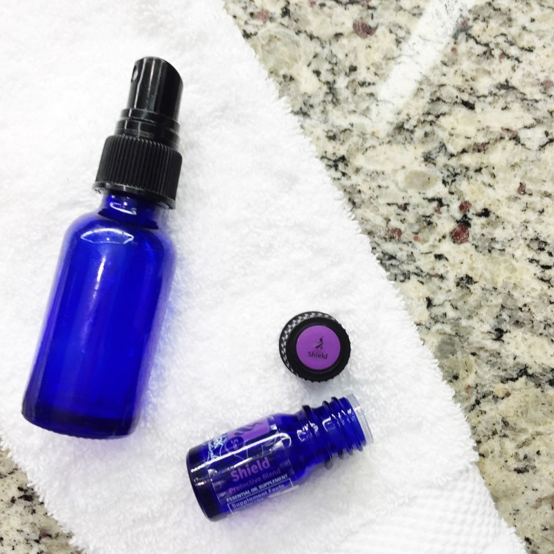 A DIY Thieves Shield spray that is sanitizing, antiviral and antibacterial