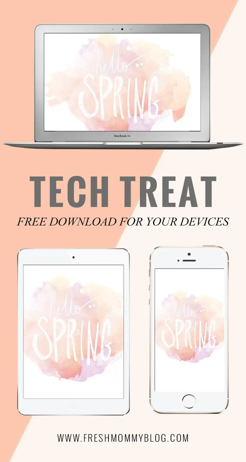 Hello Spring Tech Treat FREE Background Download from FreshMommyBlog to put a little spring in all your devices!