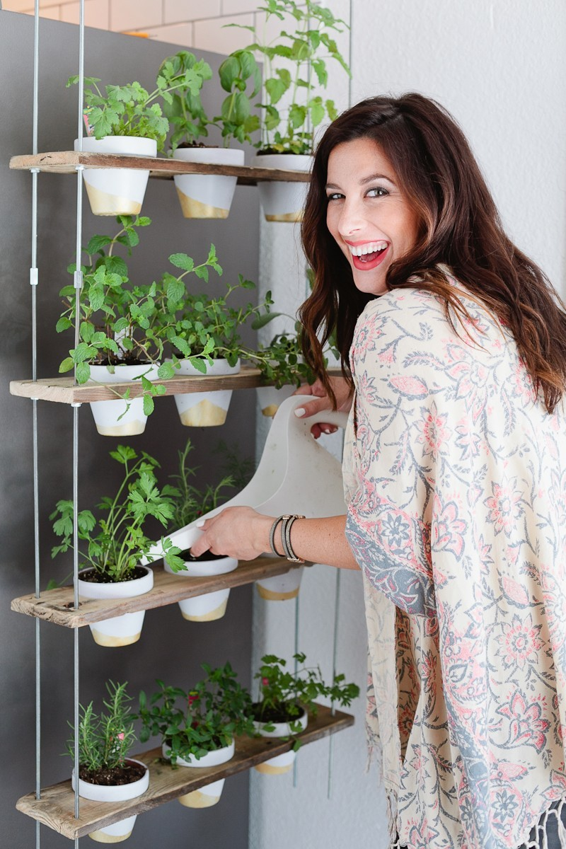 Custom Potted Hanging Herb Garden. An easy DIY for your home from Fresh Mommy Blog! - Hanging Herb Garden DIY by popular Florida lifestyle blogger Fresh Mommy Blog