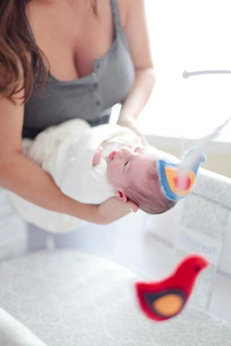 Light and Bright Bedroom Nursery with Newborn-34