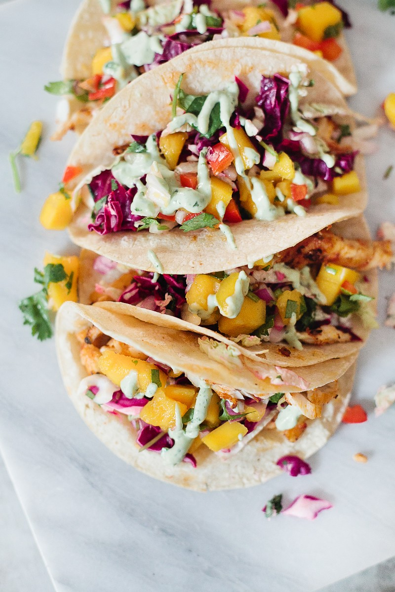 Blackened fish tacos with mango salsa avocado lime for Good fish for fish tacos