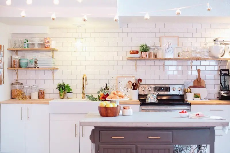 A White And Wood Kitchen Install And Makeover With Farmhouse Sink.