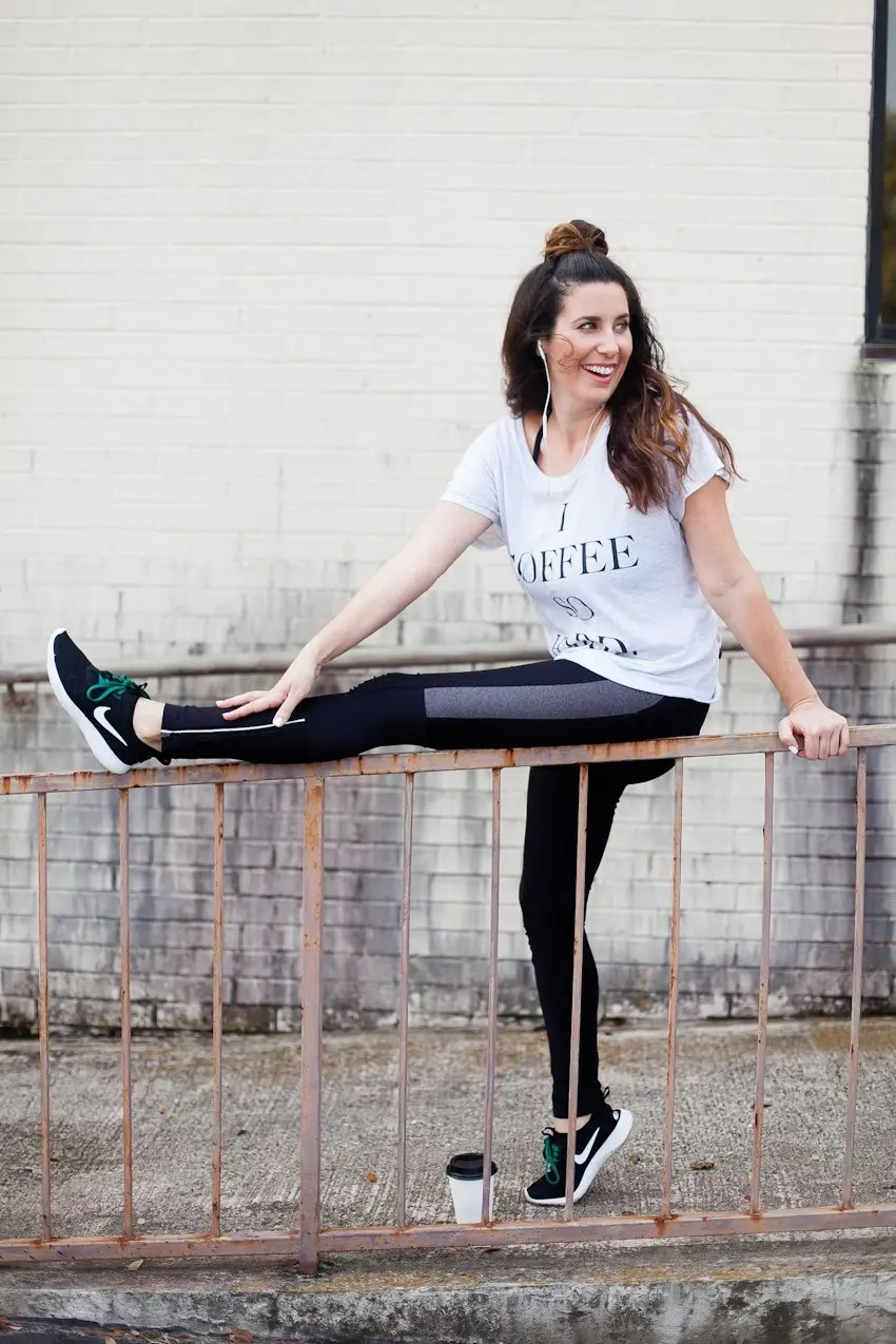 One trend I'm excited is actually gaining momentum instead of petering out with the new year is athleisure wear + pairs perfectly with this I Coffee So Hard tee! Workout fashion, whether hitting the gym or just staying in style for coffee.