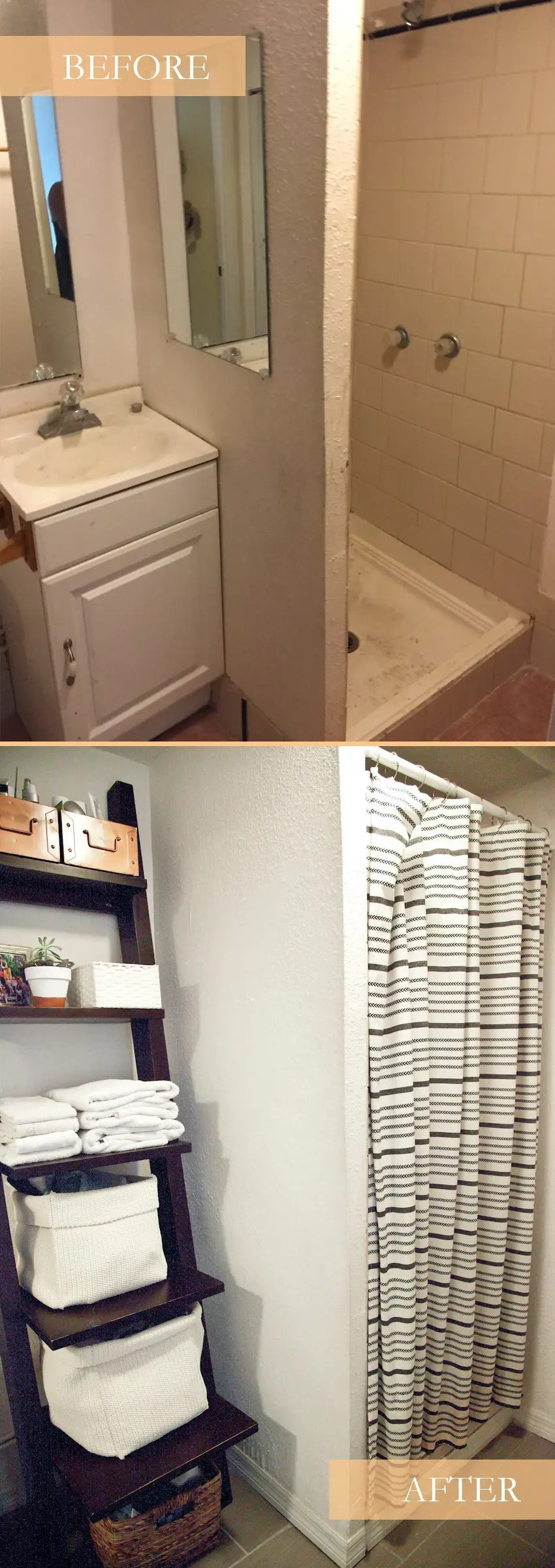 Simple Taking it Our light and bright simple studio bathroom remodel A Before and After Taking it