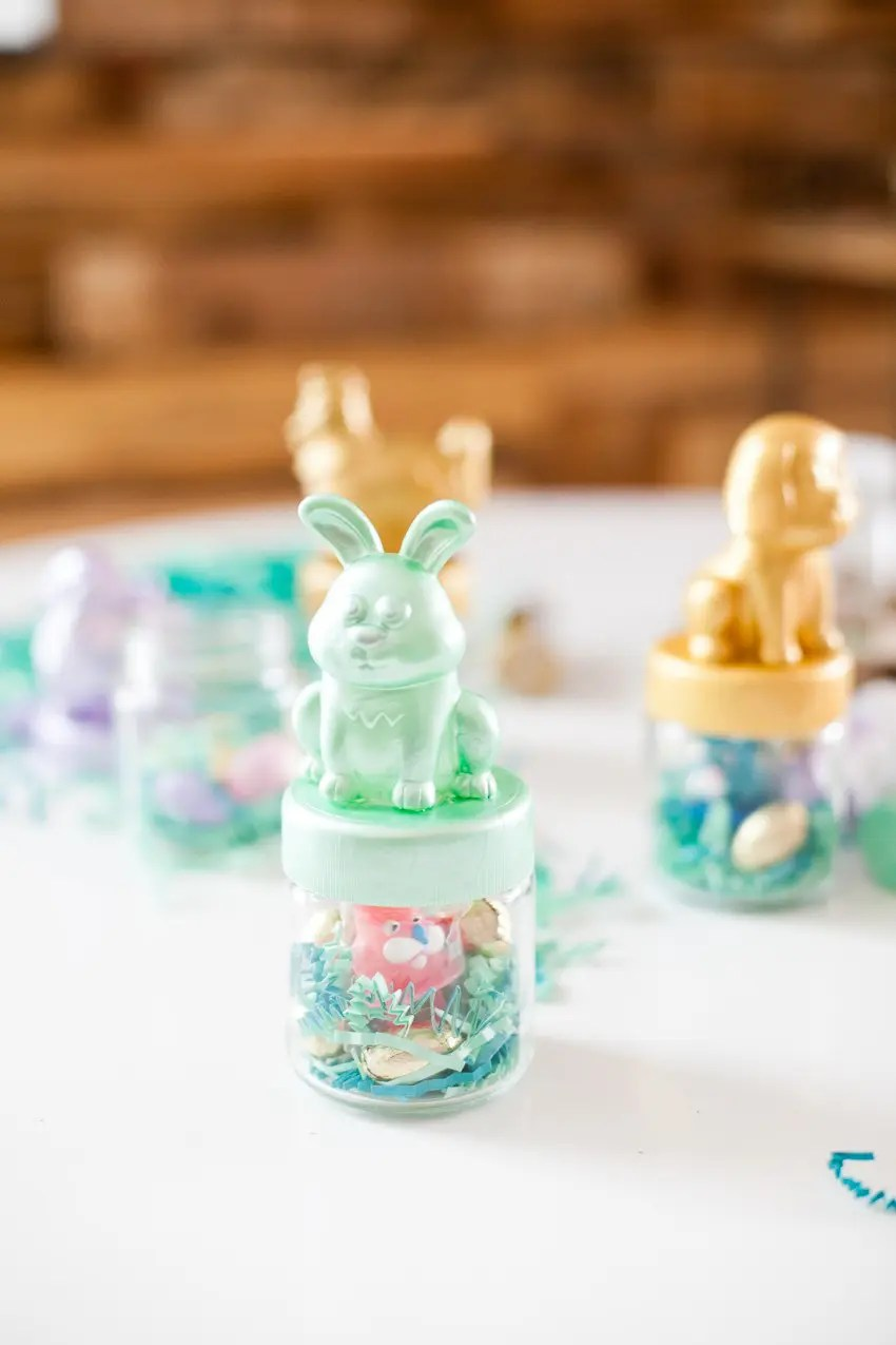 With just a few simple items you can DIY these fun and festive Easter themed favor jars that all the kids will love to find!