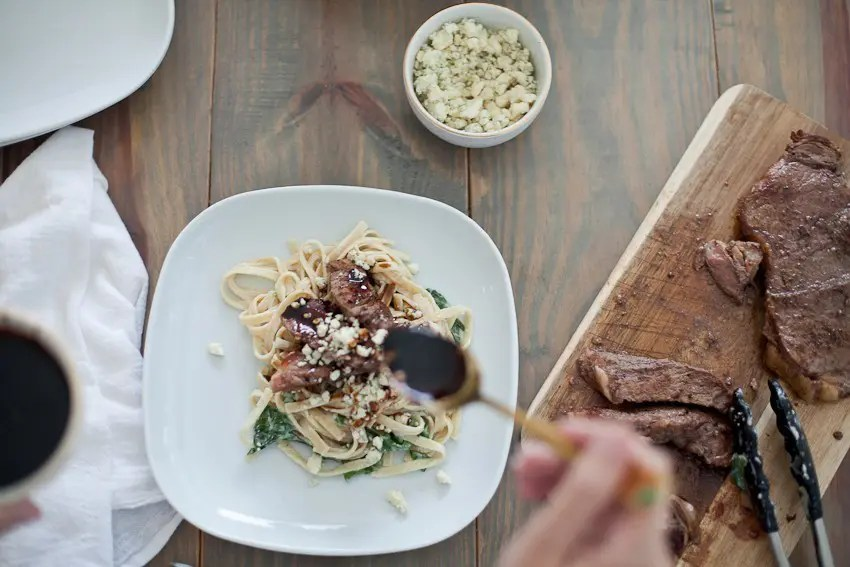 Steak Gorgonzola Alfredo with Balsamic Glaze recipe. Deliciously sweet and savory, perfect for dinner, parties and especially for the men in your life... think Father's Day dinner!