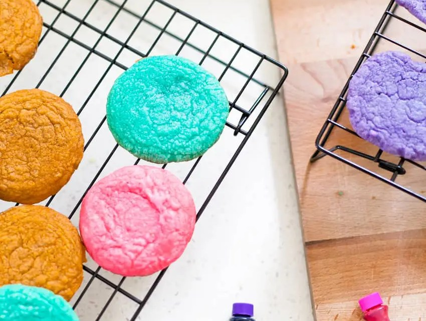 Colorful rainbow playdough and cookies. It's a recipe and activity in one!