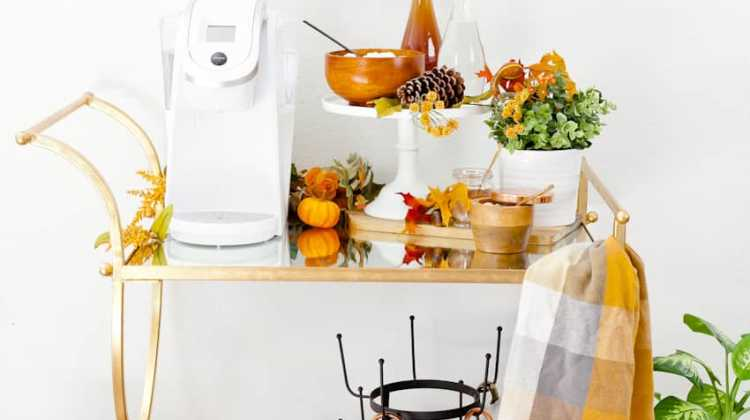 A Fall Coffee Bar Cart with Two Delicious Fall Coffee Recipes + Waffle Brunch