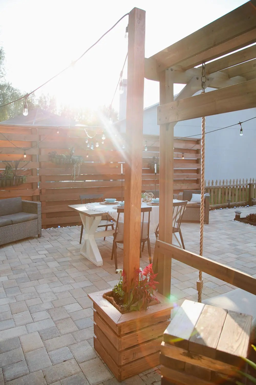 DIY Outdoor Planter Box for Hanging String Lighting ... on Backyard String Lights Diy  id=31175